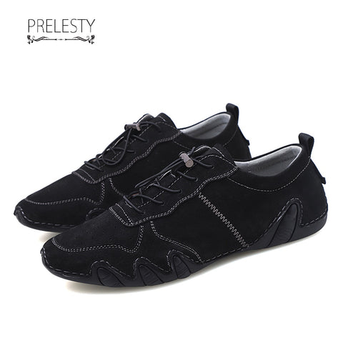 Prelesty Classic Design Casual Simple Genuine Leather Men's Slip On Driving Shoes Cool