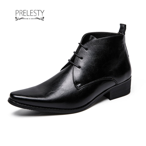 Prelesty New Cool Winter Men Riding Boots Business Lace Up Shoes Vintage English Style