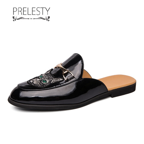 Prelesty Summer Fashion Backless Men Dress Shoes Formal Slip On Business Breathable Breathable