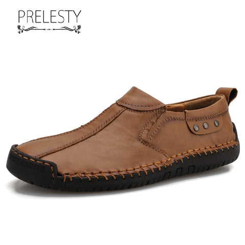 Prelesty Big Size 38-48 Loafer Cow Leather Men Driving Shoes Moccasin Lightweight Easy Wear Durable