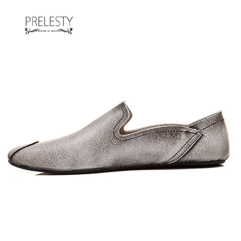 Prelesty Lightweight Simple Soft Leather Men Driving Shoes Casual Slip On Loafer