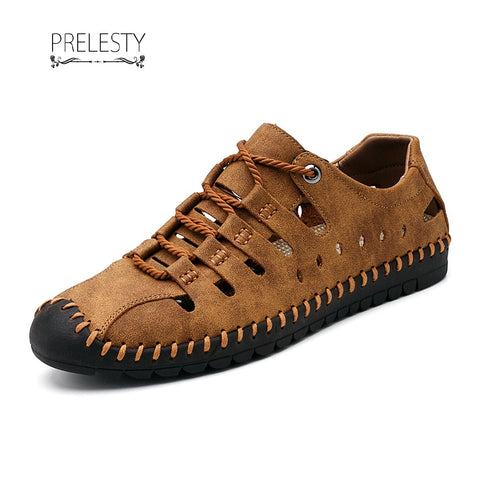 Prelesty Men Sandal Handsome Holes Design Cow Leather Cool Breathable Outdoor Shoes