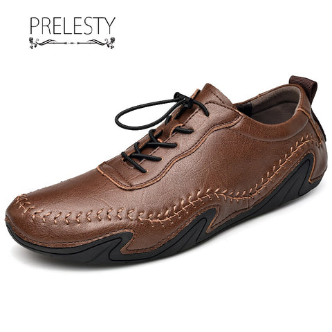 Prelesty Fashion Handmade Men Dress Shoes Formal Lace Up Gentleman Driving Premium Genuine Leather