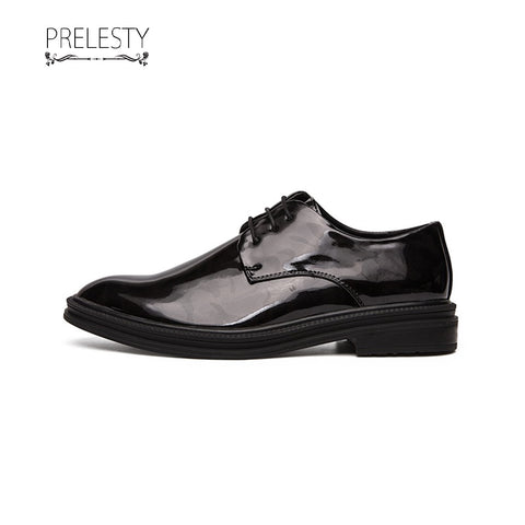 Prelesty Shiny Good Quality Patent Men's Leather Shoes Business Formal Lace Up Wedding Flat