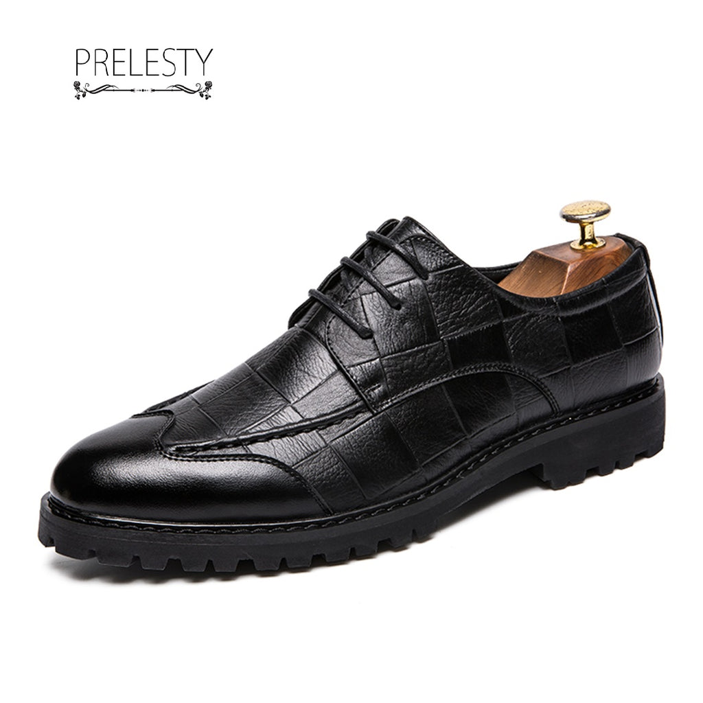 Prelesty Italian Style Brogue Men Wingtip Shoes Leather Formal Cool Plaid
