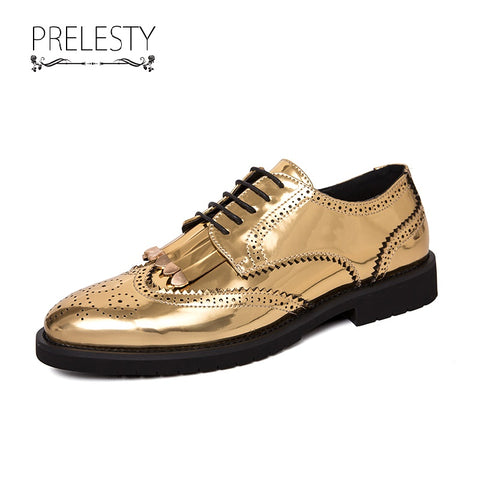 Prelesty Big Size Men Dress Shoes Shiny Leather Formal Lace Up Brogue Office Meeting