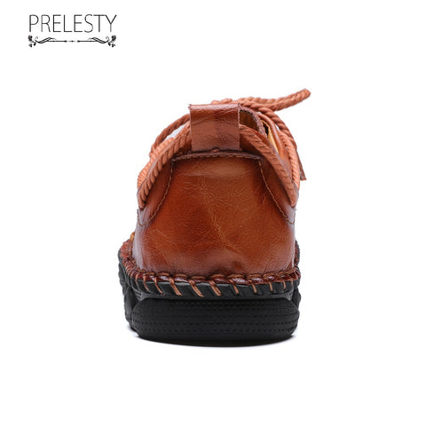 Prelesty Big Size 38~48 Vintage Genuine Leather Casual Men Lace Up Dress Shoes Breathable Comfortable