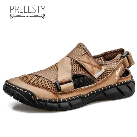 Prelesty Big Size 38-48 New Leather Men Sandal Shoes Breathable Comfortable Backpacking Outdoor Walk