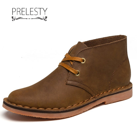 Prelesty Men Swag Winter Men Boots Shoes Genuine Leather