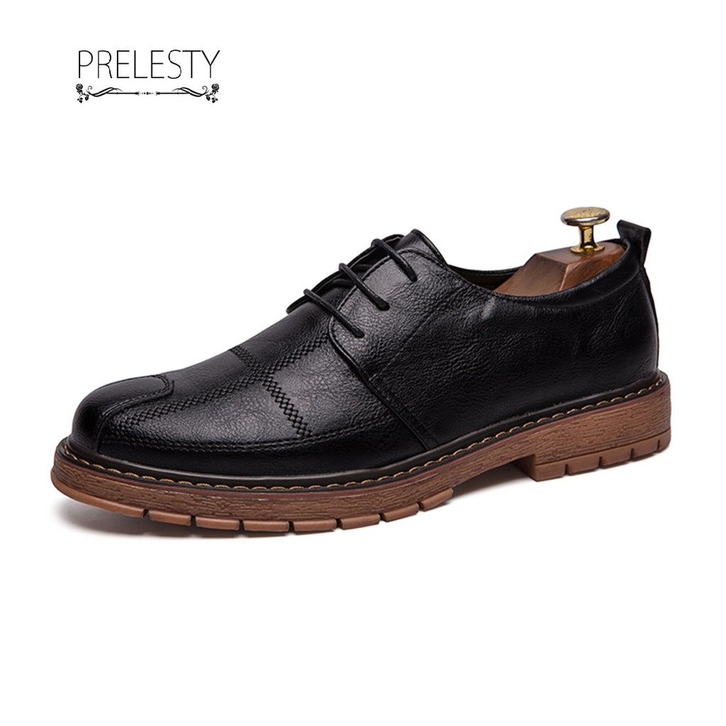 Prelesty Lightweight Autumn Brogue Men Wingtip Shoes Leather Formal Handmade