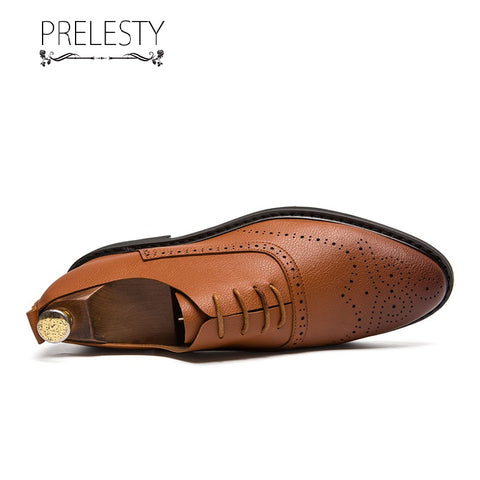 Prelesty Fashion Men Formal Shoes Brogues Design Durable Business Soft Leather Breathable Wedding Office