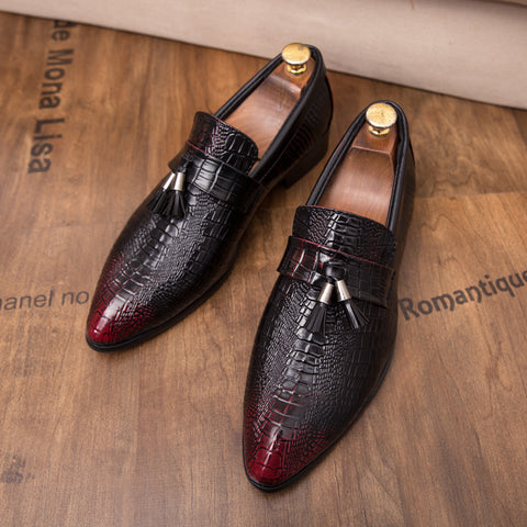 Prelesty Cool Classic Design Formal Business Wedding Crocodile Shoes Tassel