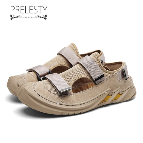 Prelesty Summer Fashion Good Quality Casual Men Sandal Shoes Breathable Rubber Bottom Cap Toe Protect