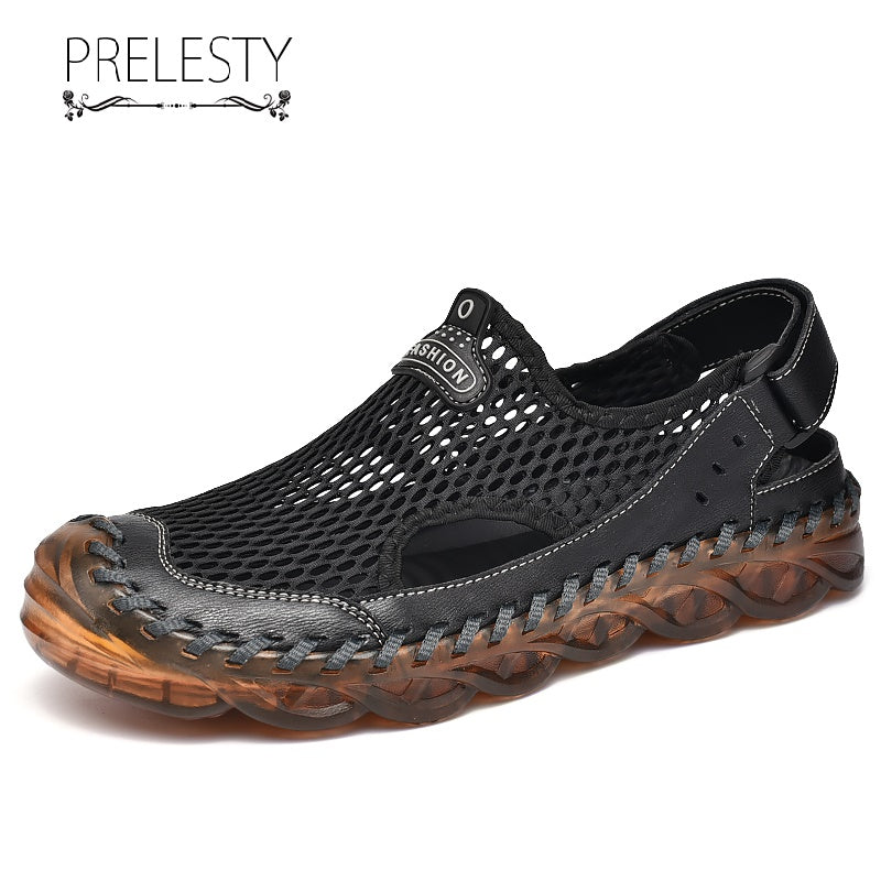 Prelesty Big Size Summer Cool Fashion Men's Leather Sandal Shoes Outdoor Waterproof Rubber Bottom Mesh Hollow