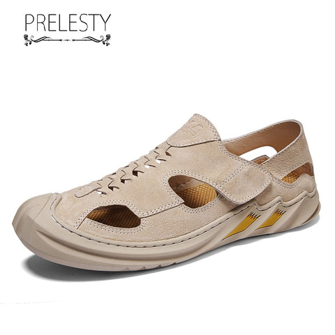 Prelesty Summer Fashion Men Sandal Shoes Buckles Handsome Good Leather Breathable Outdoor Rubber