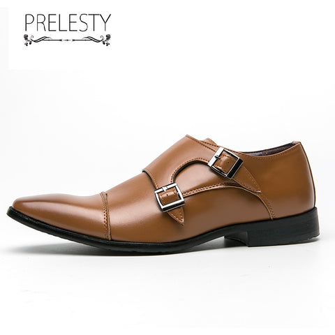 Prelesty Large Size 38-48 New Elegant Men Formal Office Double Monk Straps Shoes Business Soft Comfortable