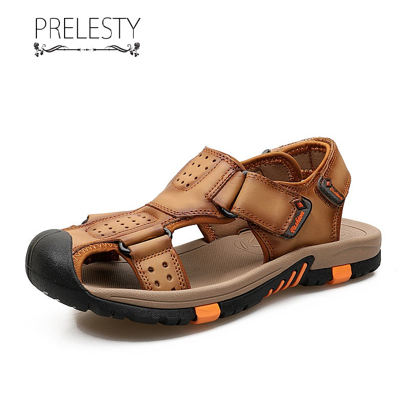 Prelesty Fashion Summer Cow Leather Men Sandal Straps Shoes Outdoor Simple Breathable Beach Back Buckle Cool