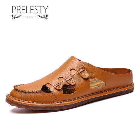 Prelesty Big Size Summer Classic Comfortable Backless Men Sandal Shoes Casual Cow Split Leather Breathable