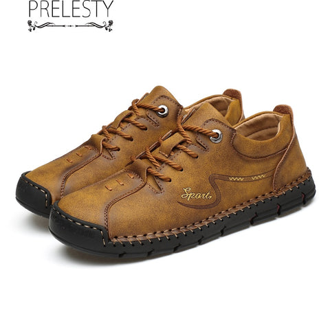 Prelesty Plus Size Men Formal Shoes Lace Design Genuine Leather Breathable High Quality