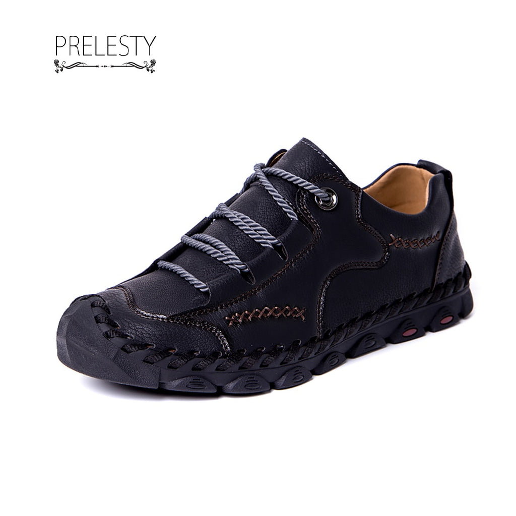 Prelesty Big Size 38~48 Formal Men's Driving Shoes Oxfords Handmade Stitching Cow Leather