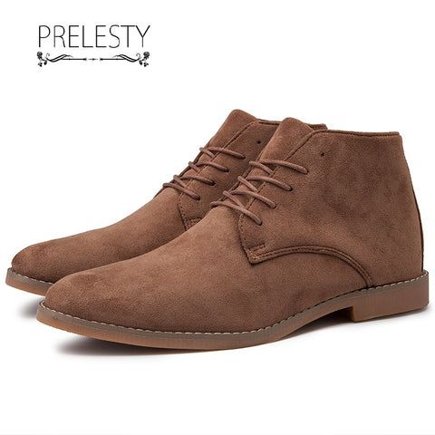 Prelesty New Retro High Tops Suede Leather Men Dress Boots Shoes Formal Lace Up Business Oxfords