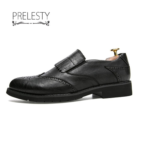 Leather Men Dress Shoes Flats Casual Oxford Formal Shoes Male Carved
