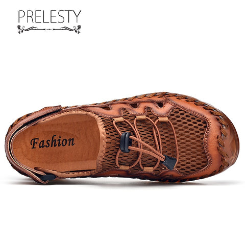 Prelesty Large Size Summer Fashion Men's Leather Sandal Shoes Outdoor Waterproof Rubber Bottom Back Buckles
