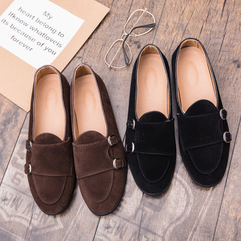 Prelesty Men Dress Suede Slip On Monk Shoes Business Formal Handsome Bridal