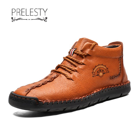 Prelesty Retro Genuine Leather Men Boots Shoes High Tops Lace Up Handsome Breathable Comfortable Classic