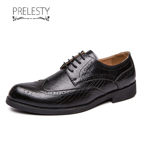 Prelesty Classic Fashion Men Brogues Shoes Formal Lace Up Wingtip Design Comfortable Wedding