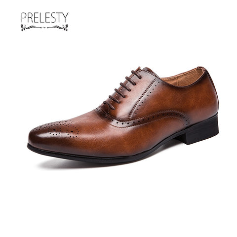 Prelesty Classy Western Style Winter Men Dress Formal Shoes Gentleman Carved