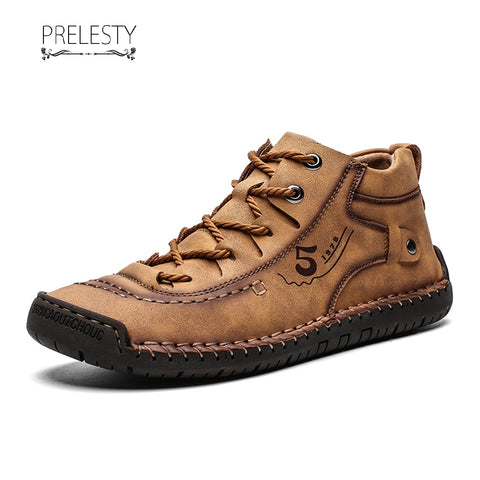 Prelesty Big Size Modern Handsome Cool Winter Men Ankle Boots Shoes Vintage Premium Genuine Leather