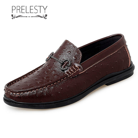 Prelesty Big Size Men Driving Loafer Shoes Smart Party Cool Business Crocodile Skin Comfortable Horsebit