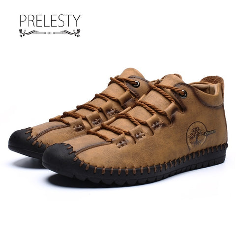 Prelesty New Fashion Men Boots High Tops Shoes Vintage English Genuine Leather Handsome Breathable