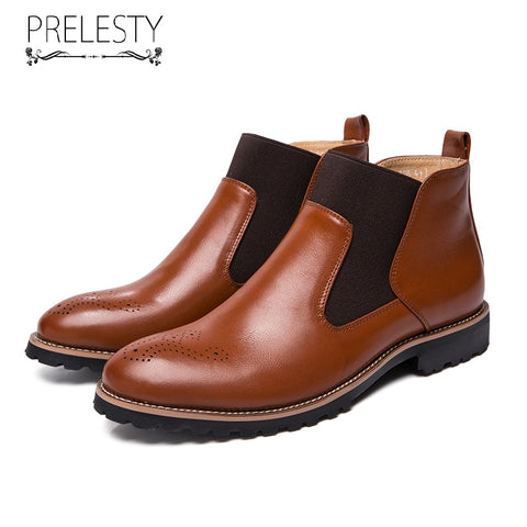 Prelesty Big Size Classic Fashion Leather English Men's Chelsea Boots Shoes High Quality