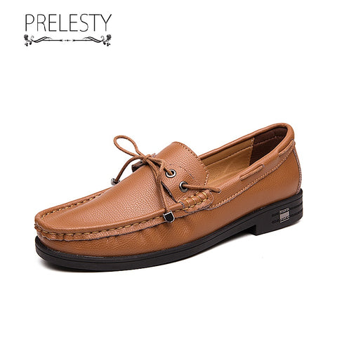 Prelesty Classic Comfortable Men Driving Boat Shoes Handsome Fashion Casual Moccasin Genuine Leather Loafer