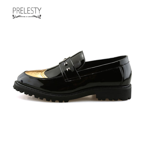 Prelesty Men Formal Shoes Shinning Toe Business Leather Dress Studs Rivet
