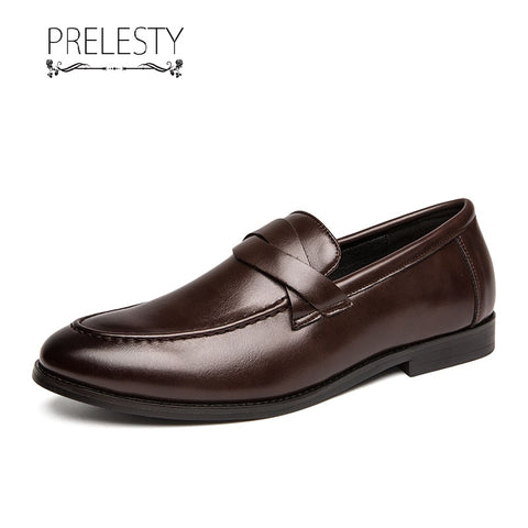 Prelesty Vintage Fashion Formal Men Dress Shoes Slip On Cool Business Office Style Party Breathable