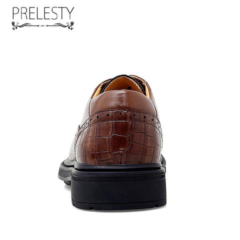 Prelesty Italian Design Men Formal Shoes Office Wedding Party Breathable Plaid Handsome