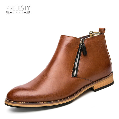 Winter Men Chelsea Boots Autumn Shoes Casual High Top Warm Leather Footwear High Quality Zipper