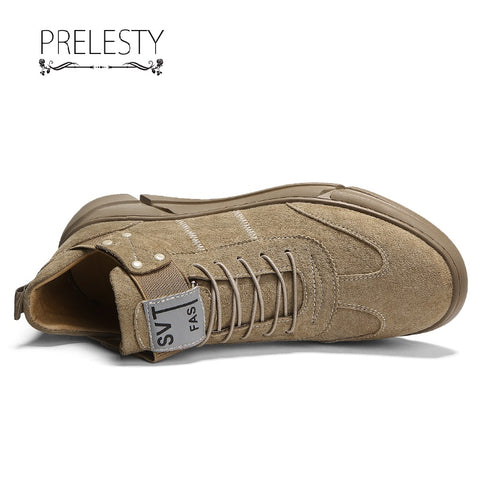 Prelesty Genuine Leather Soft Men Formal Lace Up Shoes Buckle Dress Business Comfortable Flat Rubber Bottom