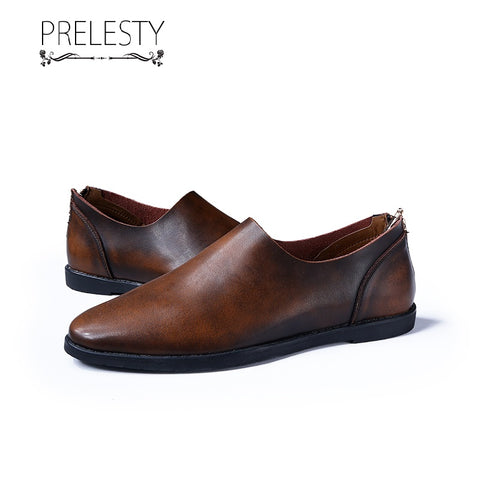 Prelesty Fashion Men Dress Shoes Formal Business Leather Dress Comfortable Zippers Cowhide