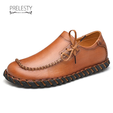 Prelesty Fashion Mode Men Dress Shoes Formal Slip On Gentleman Breathable Premium Genuine Leather
