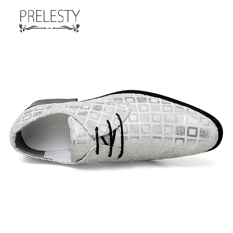 Prelesty Shining Cool Party Formal Good Soft Men Dress Shoes Lace Up Office Wedding Business Plaid Design