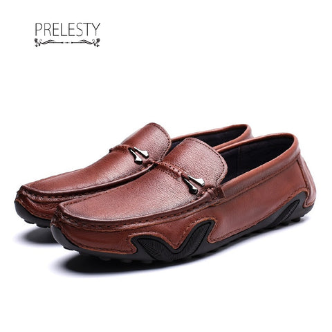 Prelesty Western Smart Men Dress Shoes Soft Formal Split Leather Loafer Business