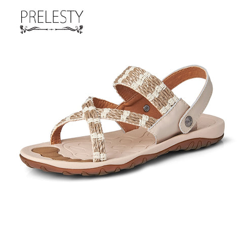 Prelesty Fashion Summer Weave Cow Leather Men Sandal Shoes Beach Outdoor Simple Breathable Comfortable Handsome