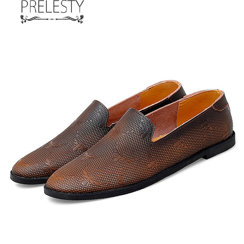 Prelesty Vintage Fashoin Italian Summer Handmade Casual Men Loafer Shoes Breathable Classic Driving