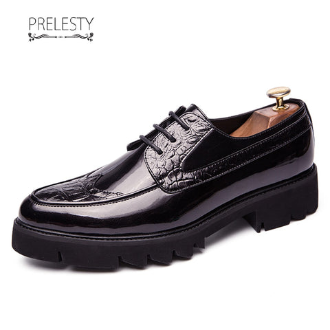 Prelesty Luxurious New Unique Shiny Wedding Men Formal Lace Up Shoes Breathable Thick Platform