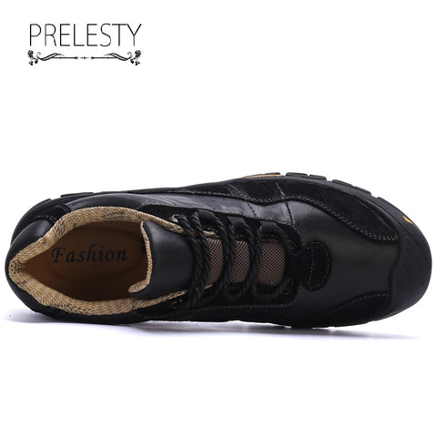 Prelesty Big Size New Fashion Men Hiking Shoes Climbing Outdoor Handsome Genuine Cow Leather