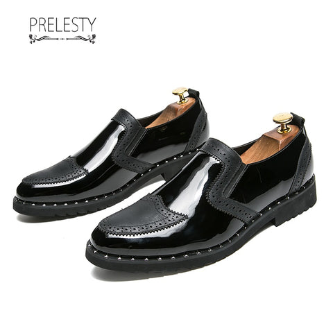 Prelesty Big Size 38~48 Men Formal Shoes Shinning Business Patent Leather Dress